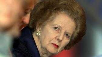 Former British Prime Minister Margaret Thatcher listens to a speaker during a defence session 03 October 2000, on the second day of the Conservative Party Conference in the Bournemouth International Centre.         (Photo credit should read GERRY PENNY/AFP/Getty Images)