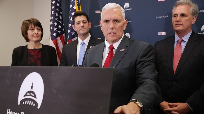 Vice President-elect Mike Pence, center, joins House Republican leaders Rep. Cathy McMorris Rogers, Speaker of the House Paul