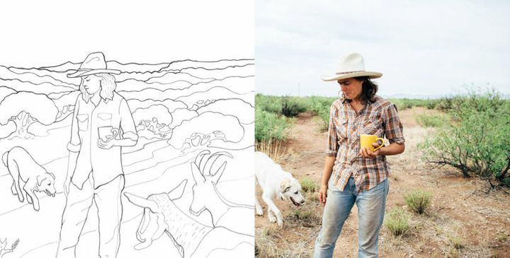 Anastasia (right) is a rancher in western Arizona. She inspired the first page (left) of a new coloring book that aims to&nbs