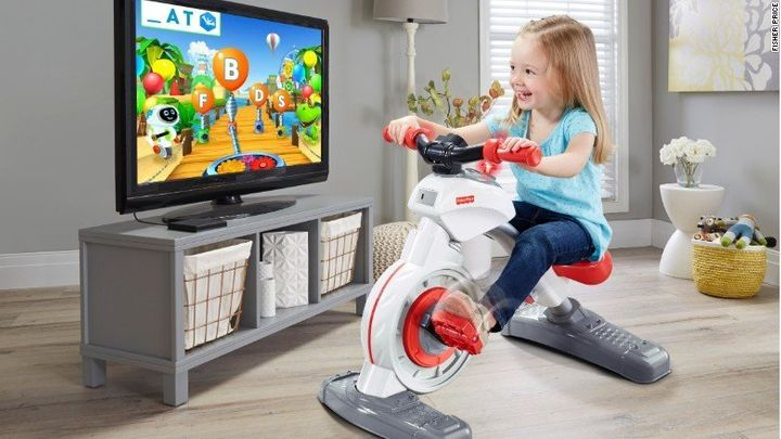 Fisher-Price's Think & Learn Smart Cycle is a bluetooth-enabled stationary bike for kids.