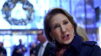 Carly Fiorina leaves after meetings with President-elect Donald Trump December 12, 2016 at Trump Tower in New York. / AFP / TIMOTHY A. CLARY        (Photo credit should read TIMOTHY A. CLARY/AFP/Getty Images)