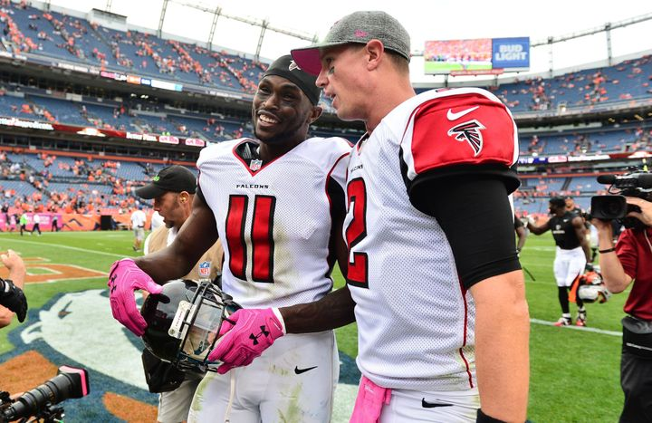 Wide receiver Julio Jones (left) and quarterback Matt Ryan both earned First-Team All-Pro honors this season.