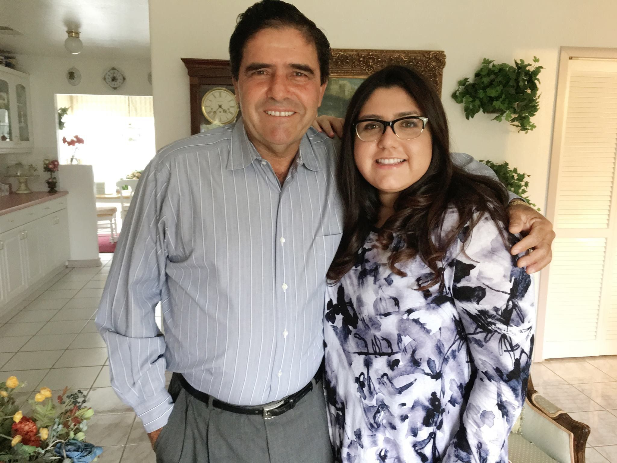 Perla Nation with her father, Pablo Perez.