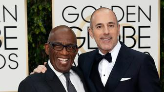 Journalists Al Roker (L) and Matt Lauer arrive at the 73rd Golden Globe Awards in Beverly Hills, California January 10, 2016.  REUTERS/Mario Anzuoni