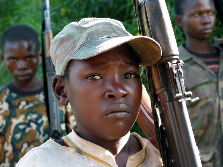 The majority of the child soldiers being used in the ongoing conflict in Democratic Republic of Congo are boys who were enlis