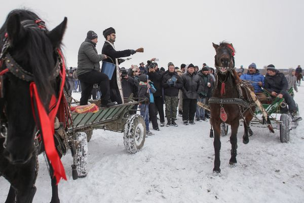 An Orthodox priest splashes holy water over a horse and his owner during the celebration of an Epiphany religious service for