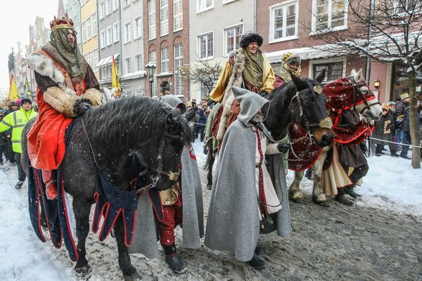 The holiday of Three Kings Day or Dzien Trzech Kroli parade in Gdansk old city centre, Poland 6 January 2017.