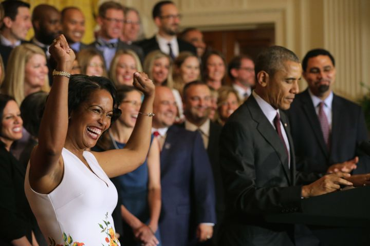 Jahana Hayes, 2016 National Teacher of the Year, reacts to President Barack Obama's remarks at the White House
