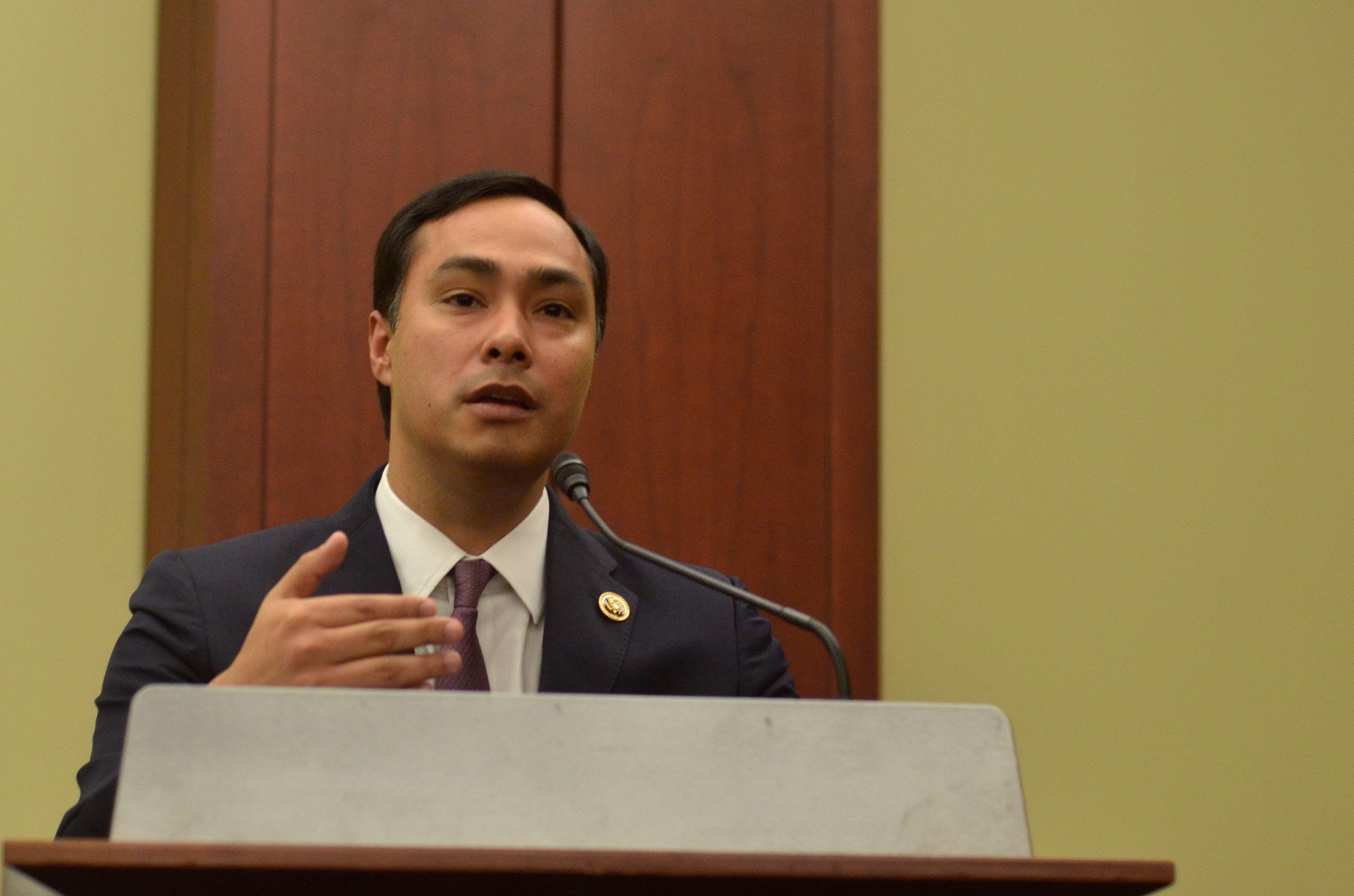 WASHINGTON, DC- SEPTEMBER 30:  Representative Joaquin Castro (D-TX) speaks during a private screening of 'Food Chains' in the Capitol Visitors Center on September 30, 2015 in Washington, DC.   (Photo by Kris Connor/Getty Images for 'Food Chains')