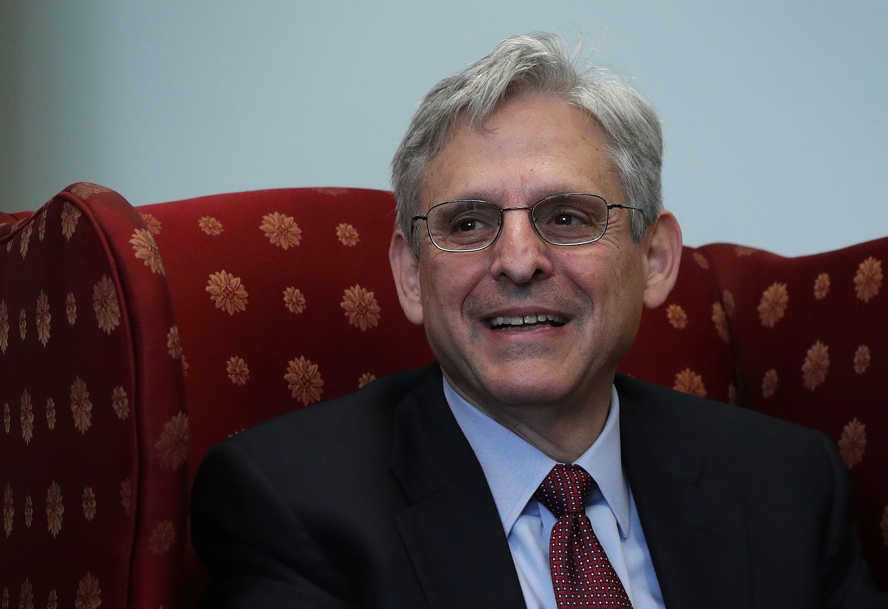 WASHINGTON, DC - APRIL 12:  U.S. Supreme Court nominee Merrick Garland, chief judge of the D.C. Circuit Court, is seen during a meeting with Sen. Cory Booker (D-NJ) April 12, 2016 on Capitol Hill in Washington, DC. Garland continued to visit senators after being nominated by President Barack Obama to succeed the late Justice Antonin Scalia on the high court.  (Photo by Alex Wong/Getty Images)