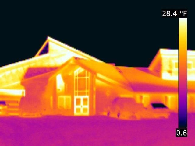 Infrared image shows heat loss that is otherwise invisible.