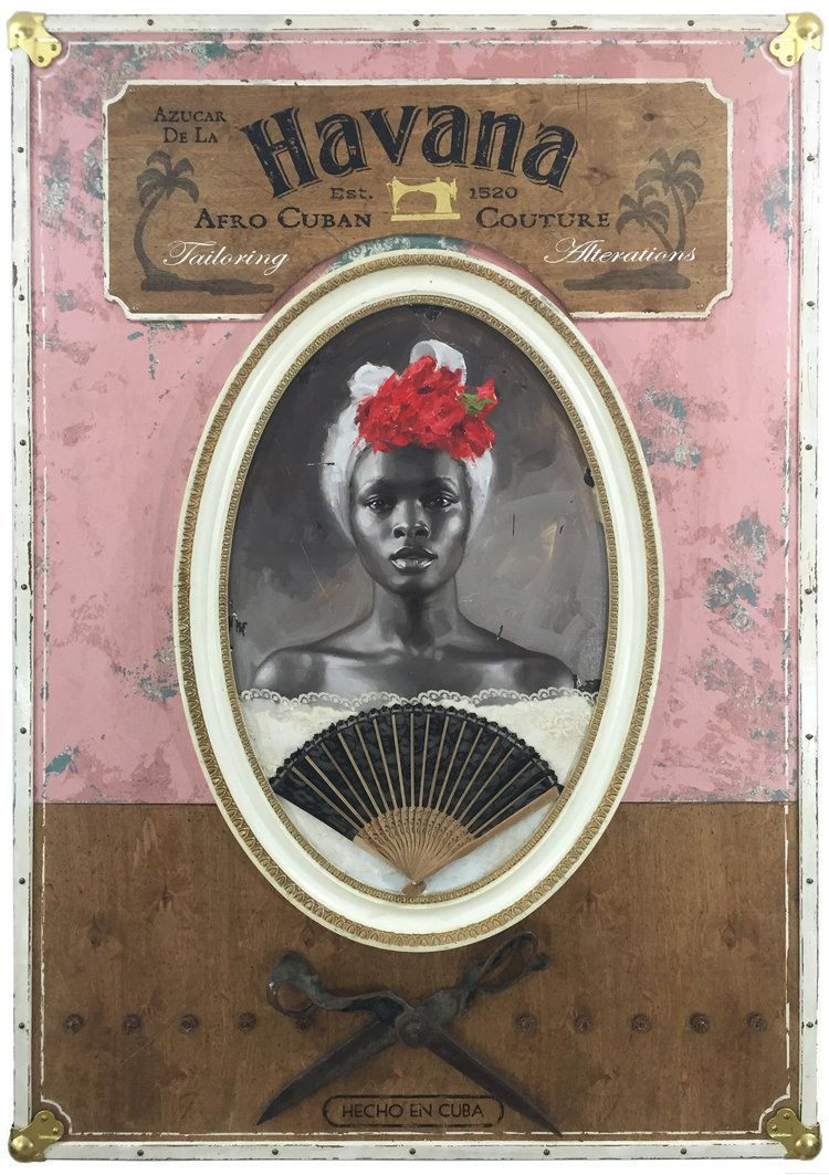 Azucar De La Havana/ oil on wood panel, gold leaf lettering, brass hardware, vintage shears, mixed media/ 39 x 56 x 4 inches/