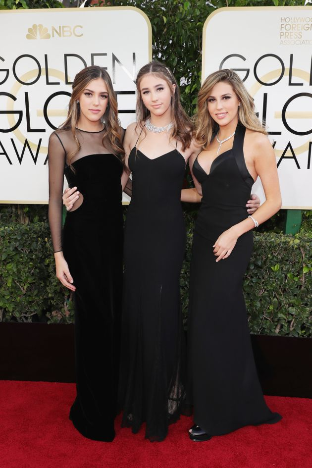 (l-r) 2017 Miss Golden Globes Sistine Stallone, Scarlet Stallone and Sophia