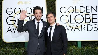 BEVERLY HILLS, CA - JANUARY 08:  74th ANNUAL GOLDEN GLOBE AWARDS -- Pictured: (l-r) Actors Diego Luna and Gael García Bernal arrive to the 74th Annual Golden Globe Awards held at the Beverly Hilton Hotel on January 8, 2017.  (Photo by Kevork Djansezian/NBC/NBCU Photo Bank via Getty Images)