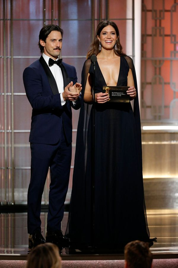 Milo Ventimiglia and Mandy Moore present the award forBest Performance by an Actor in a Television Series.