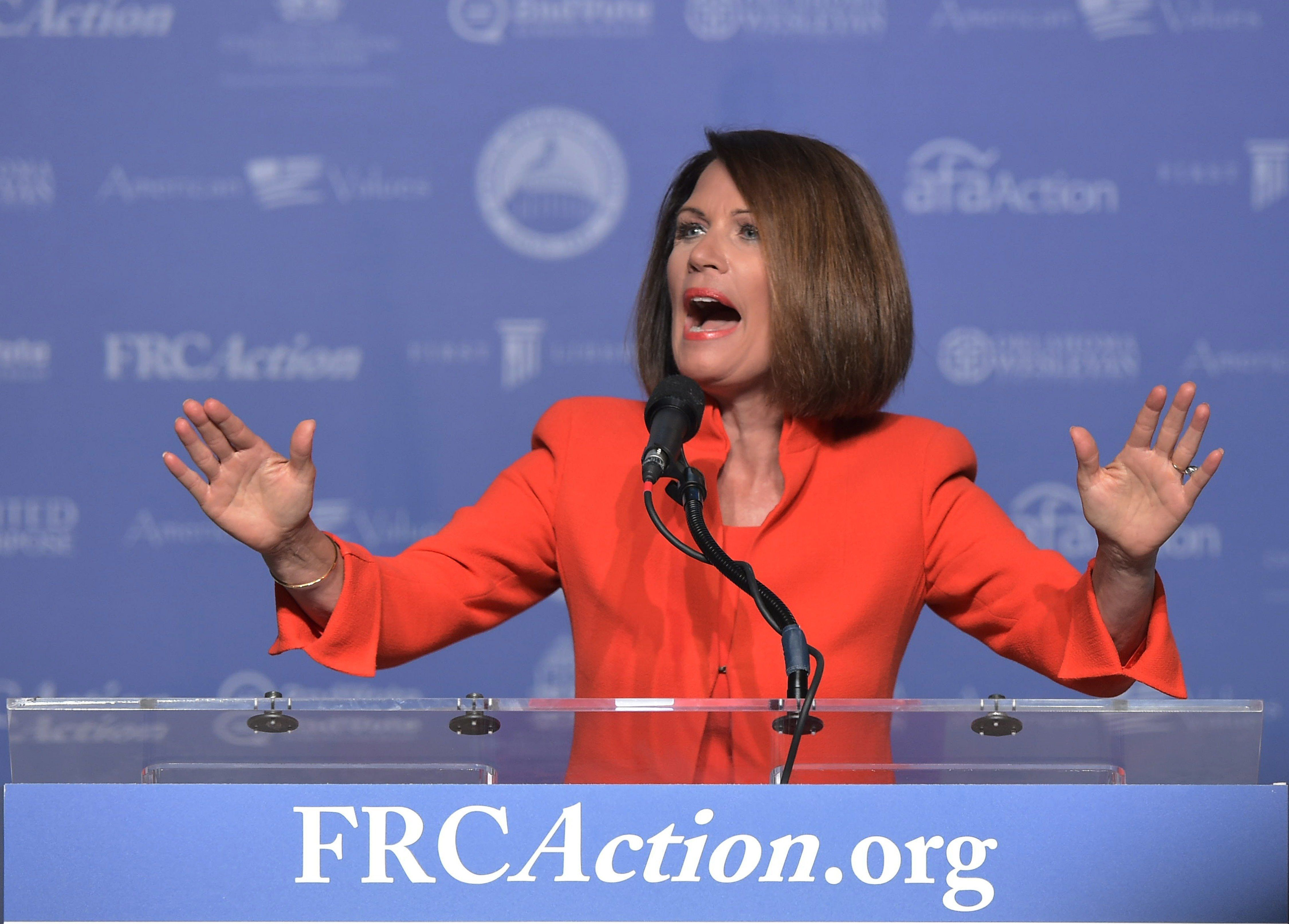 Former member of the US Congress Michele Bachmann speaks during the 11th annual Values Voter Summit at a hotel in Washington, DC, on September 9, 2016. / AFP / MANDEL NGAN        (Photo credit should read MANDEL NGAN/AFP/Getty Images)