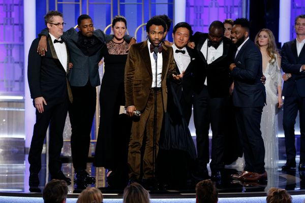 """Donald Glover and the cast of """"Atlanta"""" accept the award for Best Television Series, Musical or Comedy."""