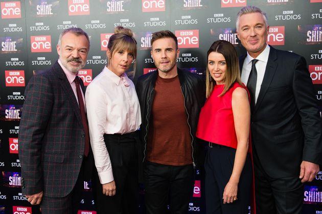 The 'Let It Shine team:(L-R) Graham Norton, Mel Giedroyc, Gary Barlow, Dannii Minogue and Martin