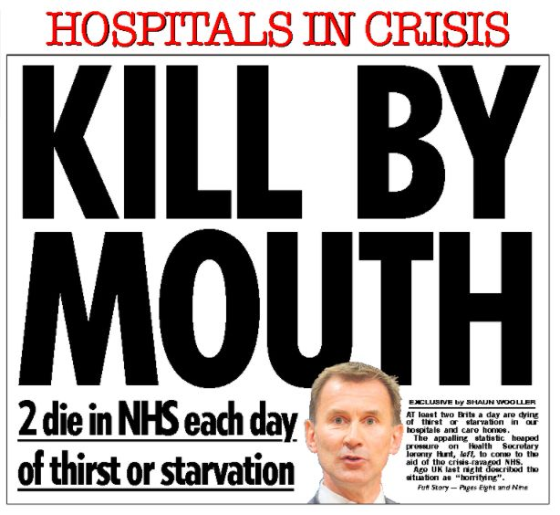 The Sun reported new figures which showed two people died in the NHS each day from thirst or