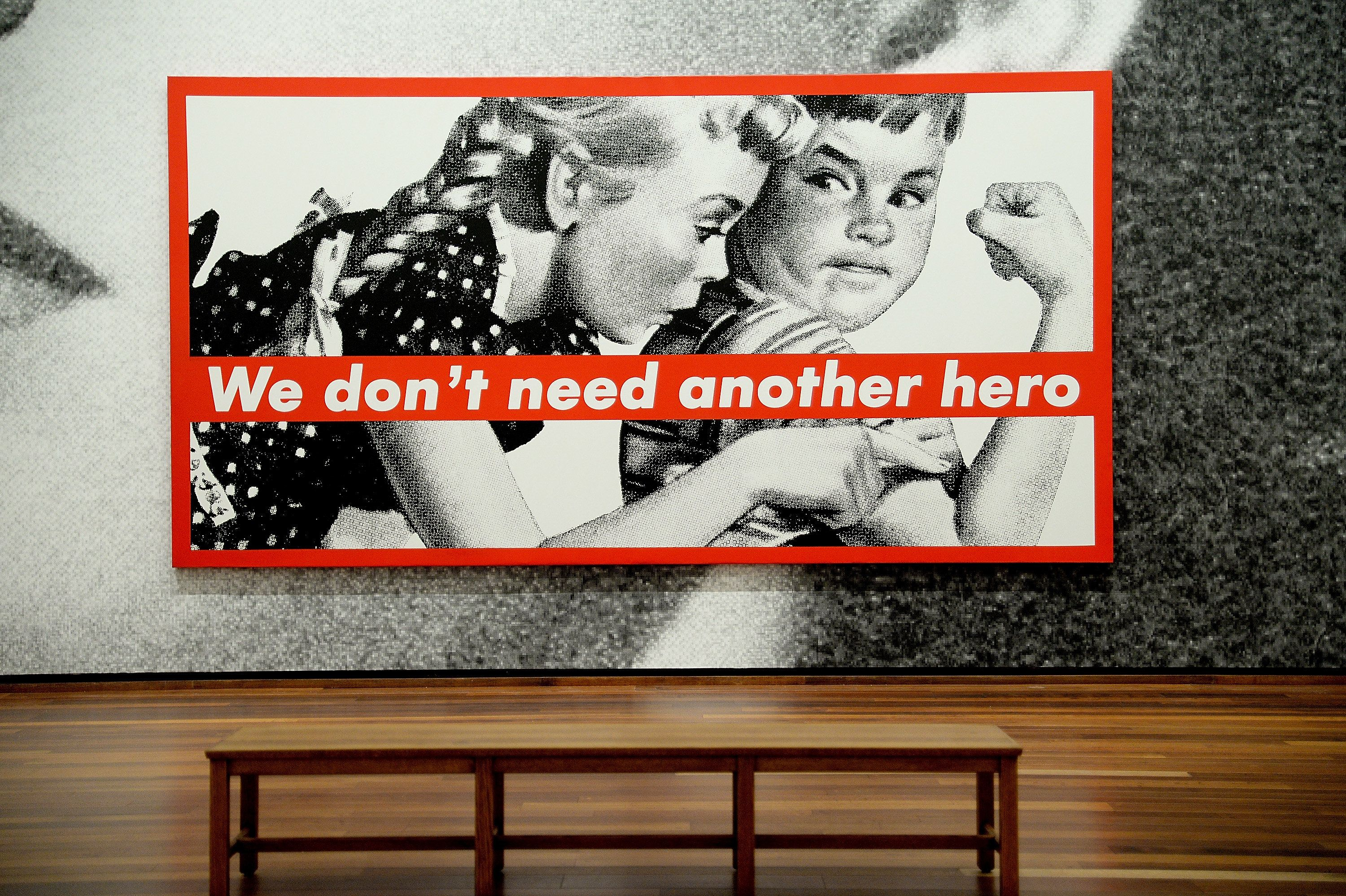"""A detail from artist Barbara Kruger's """"The future belongs to those who can see it"""" at the National Gallery of Art."""