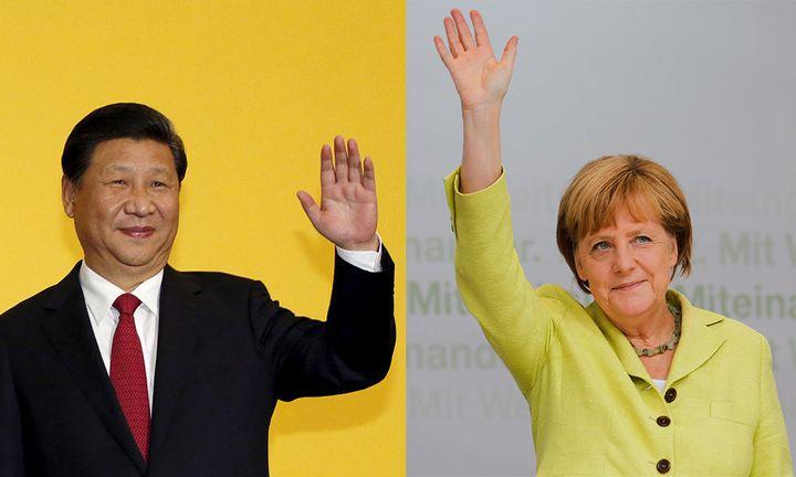 Chinese President Xi Jinping, L. German Chancellor Angela Merkel, R.