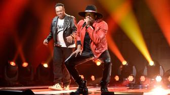 SATURDAY NIGHT LIVE -- 'Dave Chappelle' Episode 1710 -- Pictured: (l-r) Jarobi White and Q-Tip of musical guest A Tribe Called Quest perform on November 12, 2016 -- (Photo by: Will Heath/NBC/NBCU Photo Bank via Getty Images)