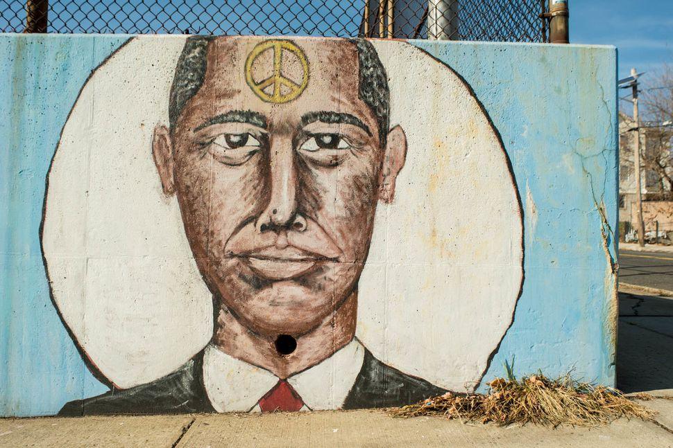 """Obama, Man of Peace,"" The Avon School, Chadwick Avenue at Rose Terrace, Newark, New Jersey, 2014."