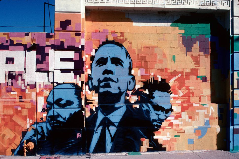 Martin Luther King Jr., Malcolm X and Obama mural at Faith in Christ Ministries, 46th Street at South Western Avenue, Los Ang