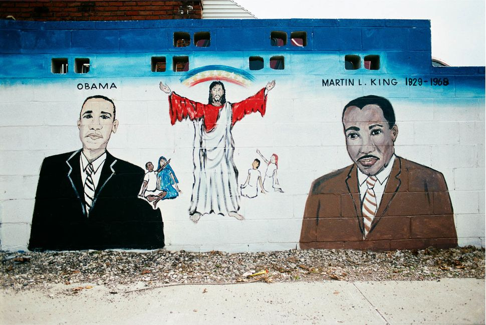 """Mural at West Montana Street and Woodward Avenue, Highland Park, Michigan, 2009. A local artist said the mural was about """"thr"""