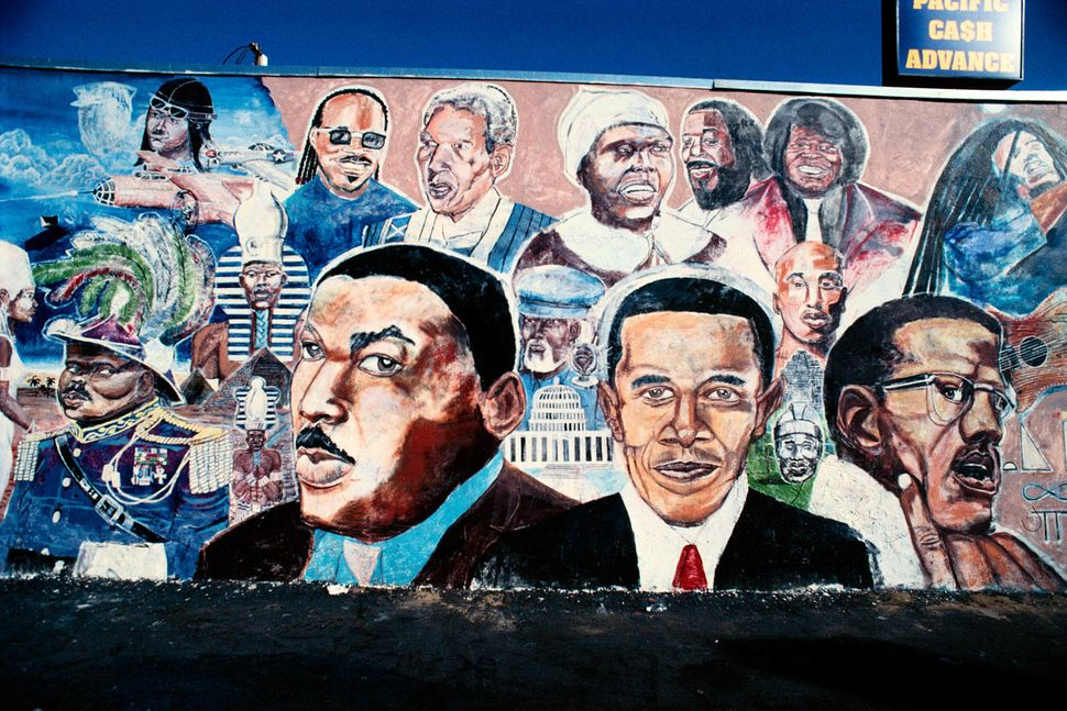 Martin Luther KingJr., Obama and Malcolm X mural by Shyaan Khufu, Master Burger, 4423 S. Western Ave., Los Angeles, 201
