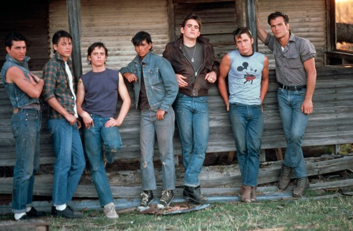 Tom Cruise, Rob Lowe, C. Thomas Howell, Ralph Macchio, Matt Dillon, Emilio Estevez and Patrick Swayze on the set of the film