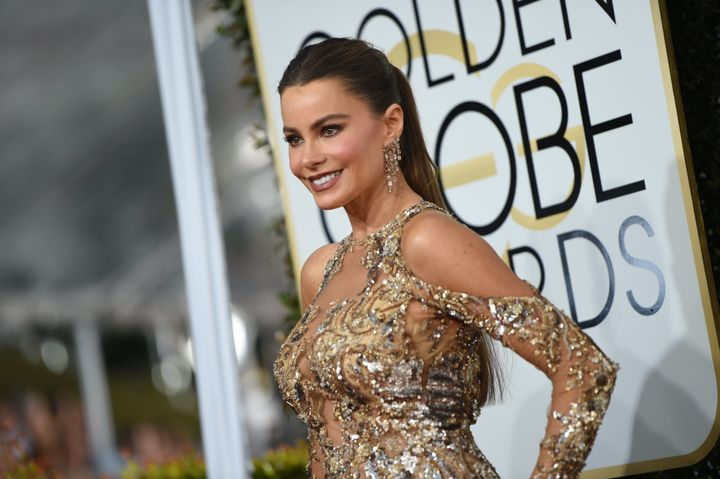 Sofia Vergara arrives at the 74th annual Golden Globe Awards.