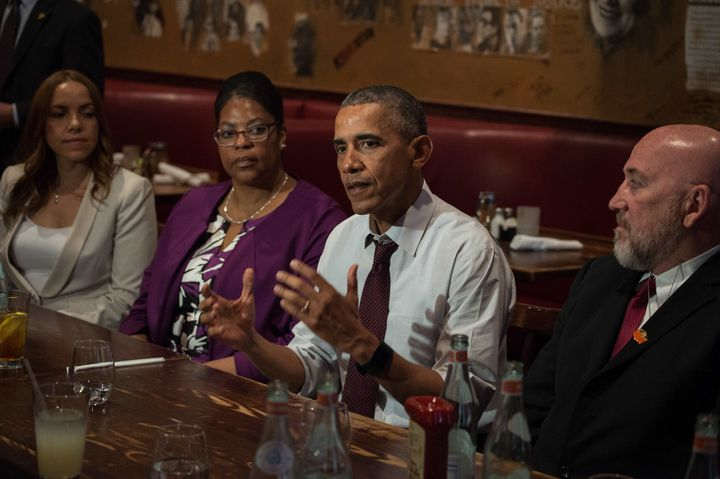 US President Barack Obama meets with formerly incarcerated individuals who have previously received commutations in Washingto