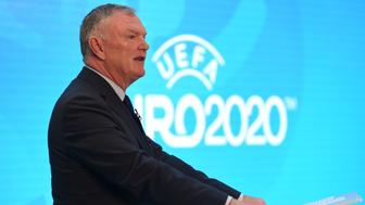 LONDON, UNITED KINGDOM - SEPTEMBER 21 : The Football Association chairman Greg Clarke delivers a speech during an event to launch the logo for the 2020 UEFA European Championship football tournament in London, United Kingdom on September 21, 2016. (Photo by Kate Green/Anadolu Agency/Getty Images)