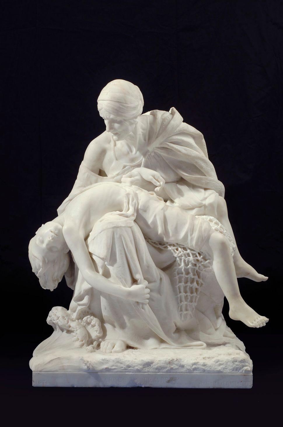 "Sarah Bernhardt, ""Après la tempête (After the Storm),"" ca. 1876, white marble, 29 1/2 x 24 x 23 in."