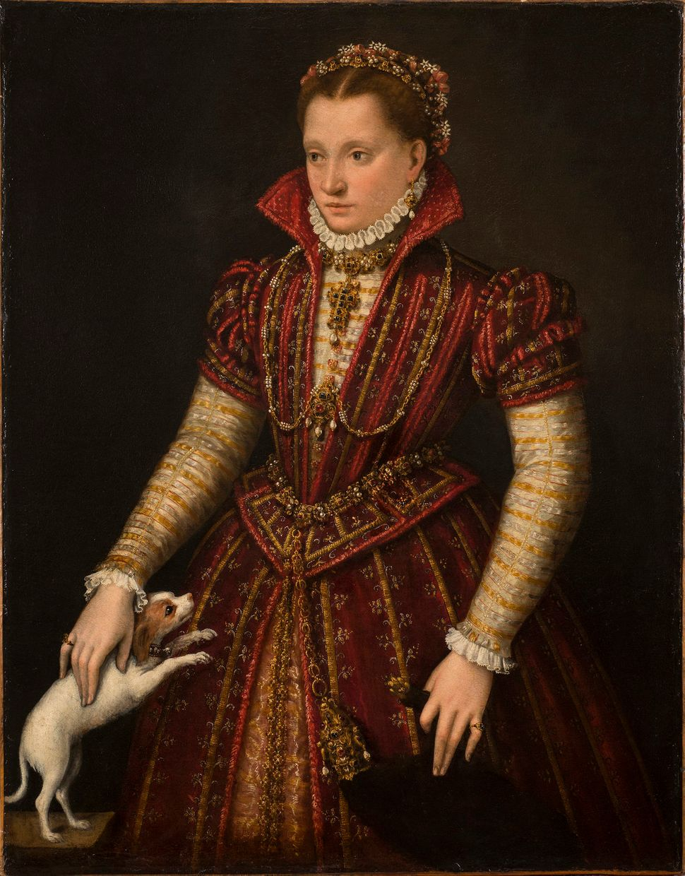 "Lavinia Fontana, ""Portrait of a Noblewoman,"" ca. 1580, oil on canvas, 45 1/4 x 35 1/4 in."