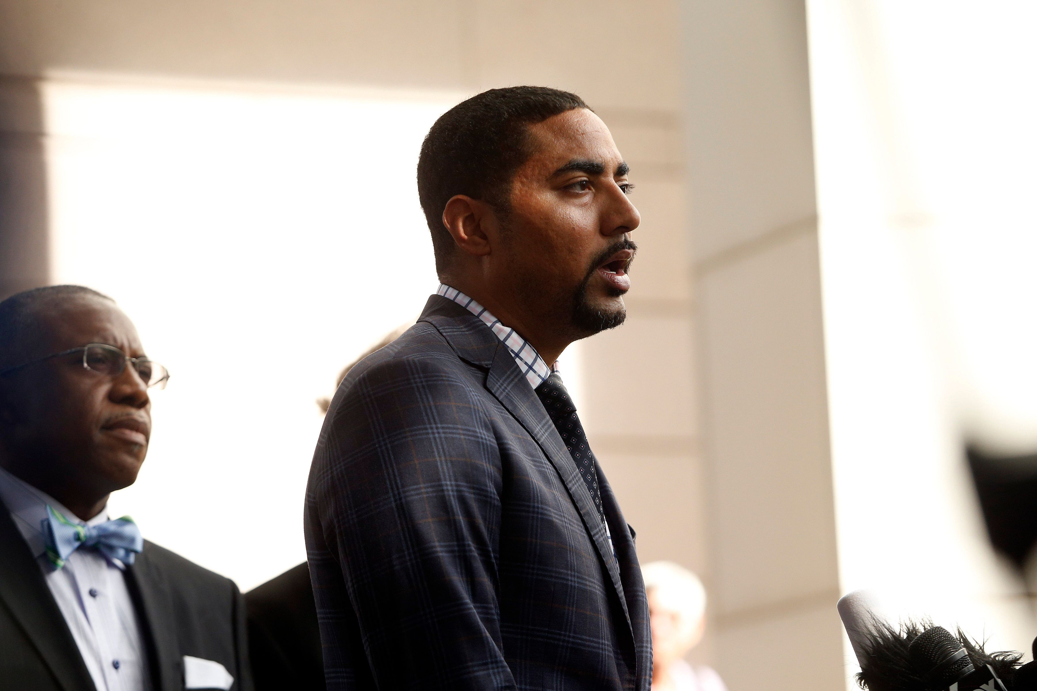 CHARLOTTE, NC - SEPTEMBER 22:  Justin Bamberg, the attorney for the family of Keith Scott, speaks to the media on September 22, 2016 in Charlotte, North Carolina.  Keith Scott, 43,  was shot and killed by police officers at an apartment complex near UNC Charlotte. (Photo by Brian Blanco/Getty Images)