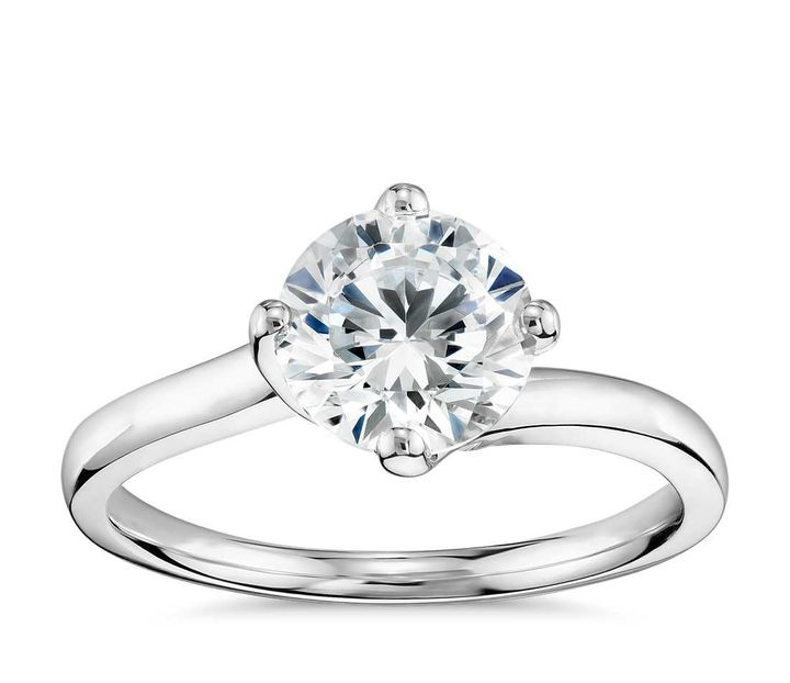 <p>Truly Zac Posen East-West Solitaire Engagement Ring, $650 (setting only).</p>