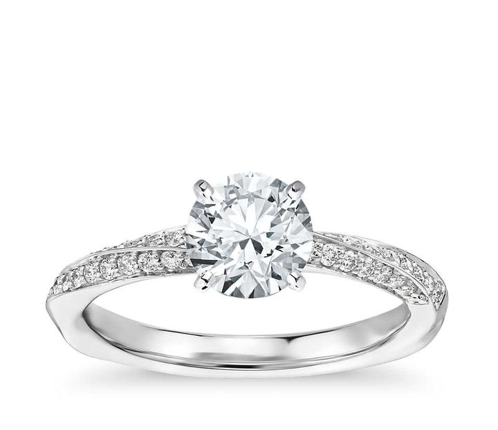 <p>Double Row Rollover Twist Diamond Engagement Ring, $1,160 (setting only).</p>