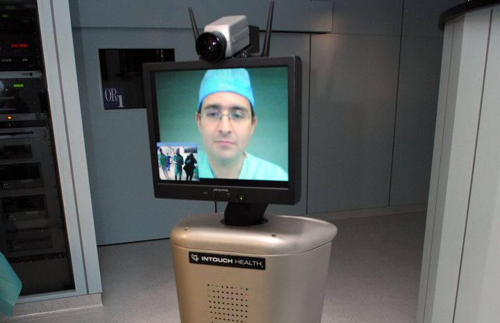 A remote surgeon on an InTouch robot at the European Institute of TeleSurgery. Strasbourg, France. Jan. 12, 20