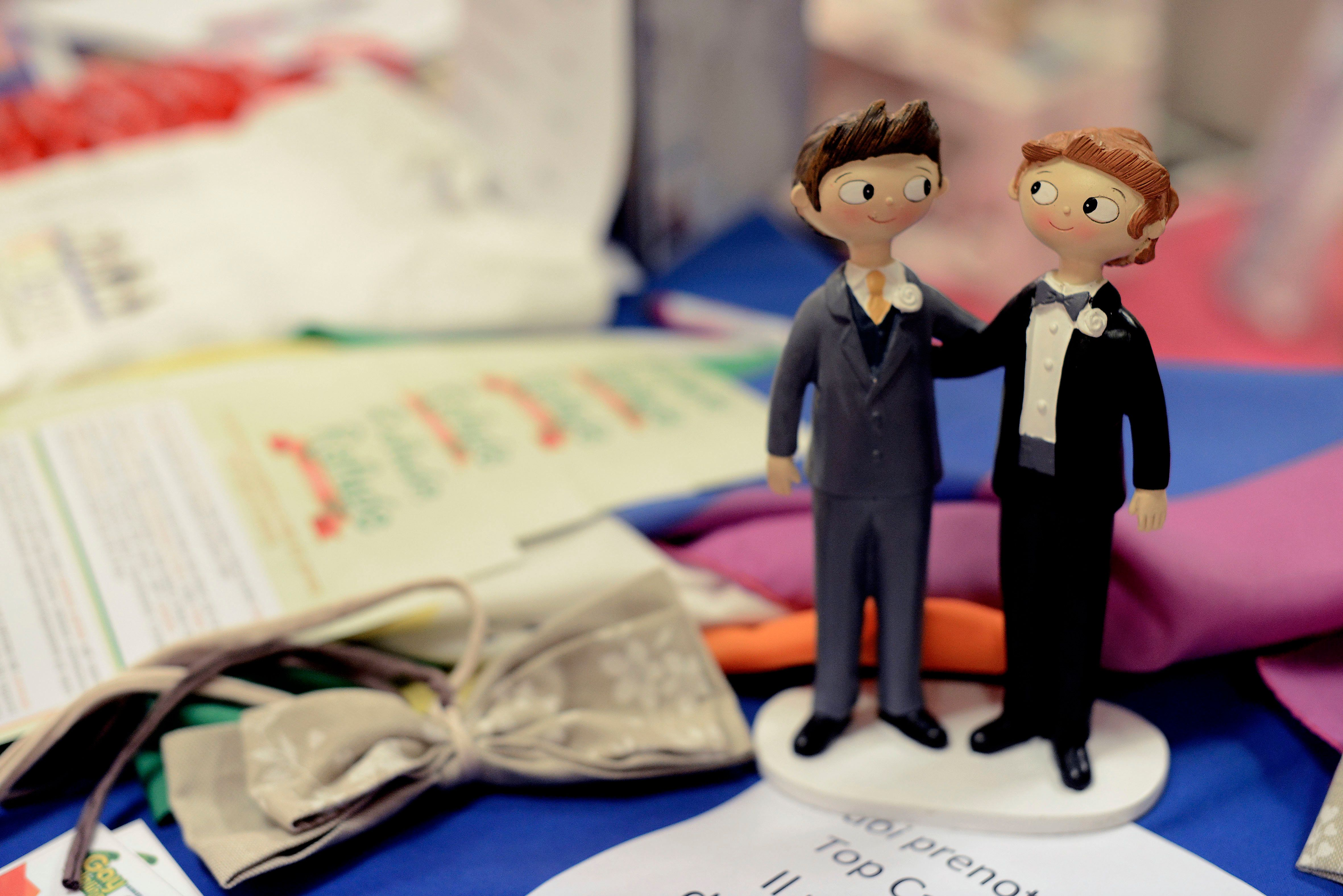 ROME, ITALY - OCTOBER 21: Inauguration of the Gay Wedding Fair the first exhibition in Italy dedicated to civil unions on October 21, 2016 in Rome, Italy. (Photo by Simona Granati/Corbis via Getty Images)