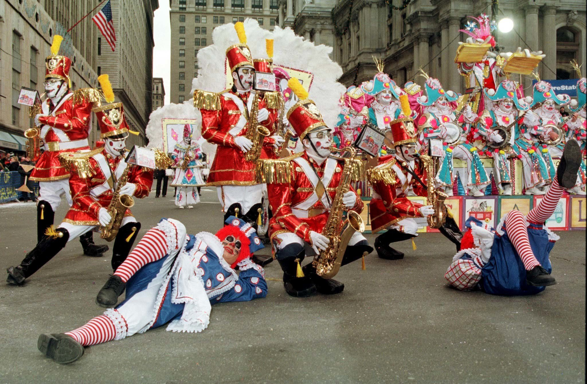 Members of the string band, Polish America, perform in front of the judges on Broad Street at City Hall. There were 42 clubs in the comic, fancy, string band and brigade divisions that competed in this year's 98th Mummers Parade in Philadelphia, Pennsylvania on January 1. Photo by Barbara L.  MUMMERS PARADE