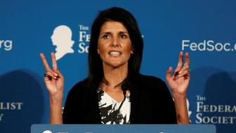 Republican South Carolina Governor Nikki Haley delivers remarks at the Federalist Society 2016 National Lawyers Convention in Washington, U.S., November 18, 2016.    REUTERS/Gary Cameron