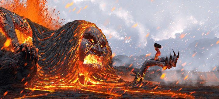 <p><strong>Moana standing strong and connected with the lava monster at the end of the movie.</strong></p>