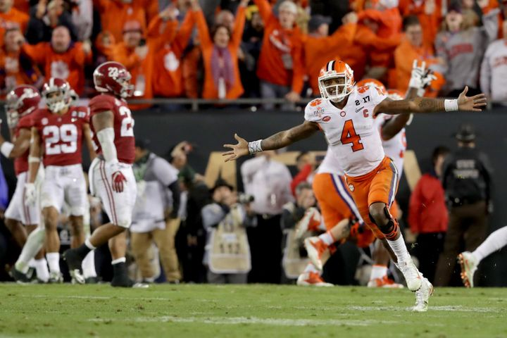 Clemson quarterback Deshaun Watson celebrates the title-winning touchdown Monday night in Tampa.