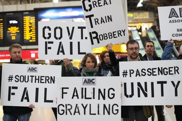 Commuters protest over the Southern Rail strikes at Victoria Station in London in December last