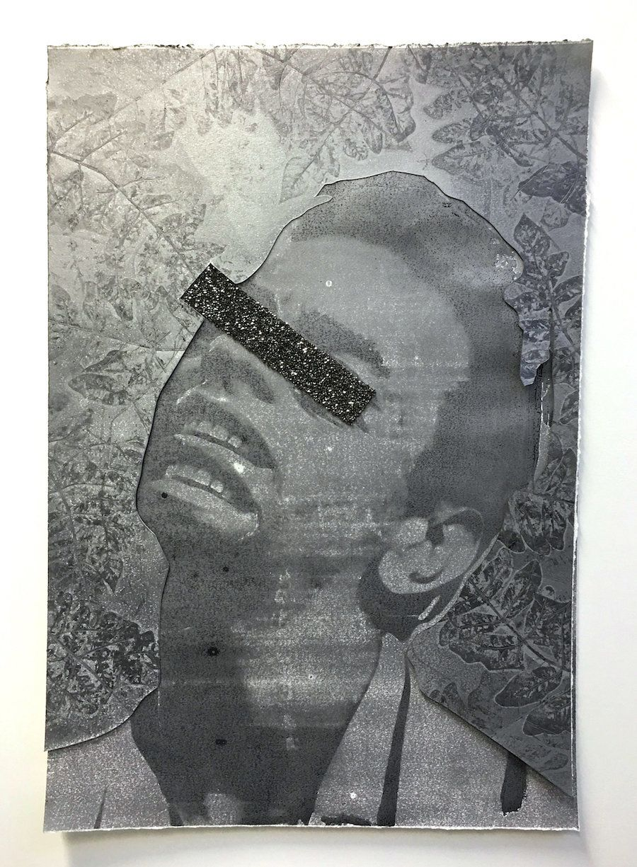 "Devan Shimoyama, ""<i>Idol Eclipsed (Johnny)</i>,"" 2016, monotype print with collage and glitter, 36 x 25 inches. Courtesy of"