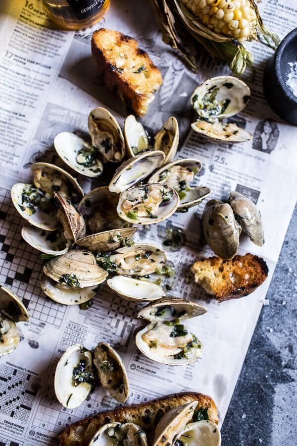 """<strong>Get the <a href=""""http://www.halfbakedharvest.com/grilled-clams-with-charred-jalapeno-basil-butter/"""" target=""""_blank"""">G"""