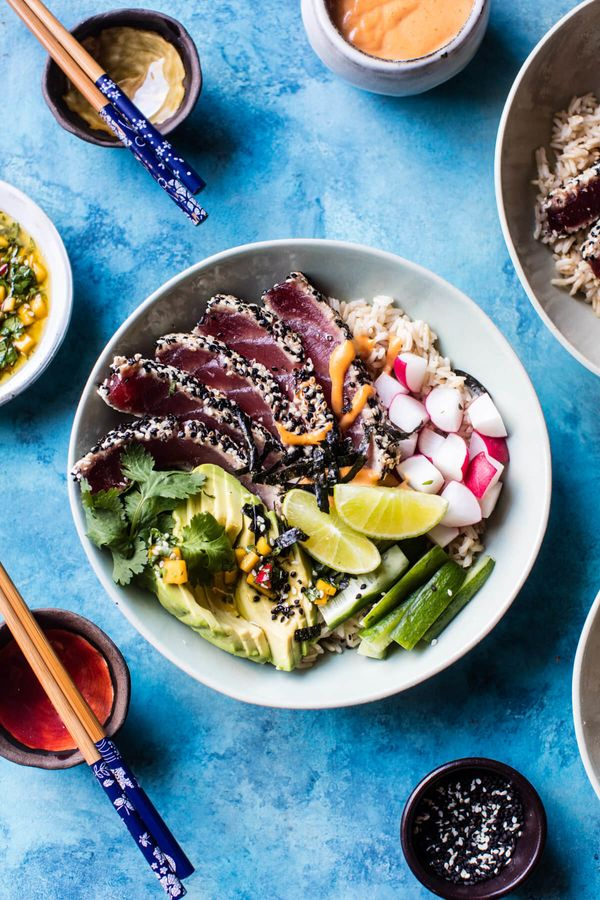 """<strong>Get the <a href=""""http://www.halfbakedharvest.com/spicy-brown-rice-seared-tuna-roll-bowl/"""" target=""""_blank"""">Spicy Seare"""