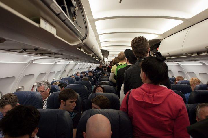 <p>Passengers boarding a flight.</p>